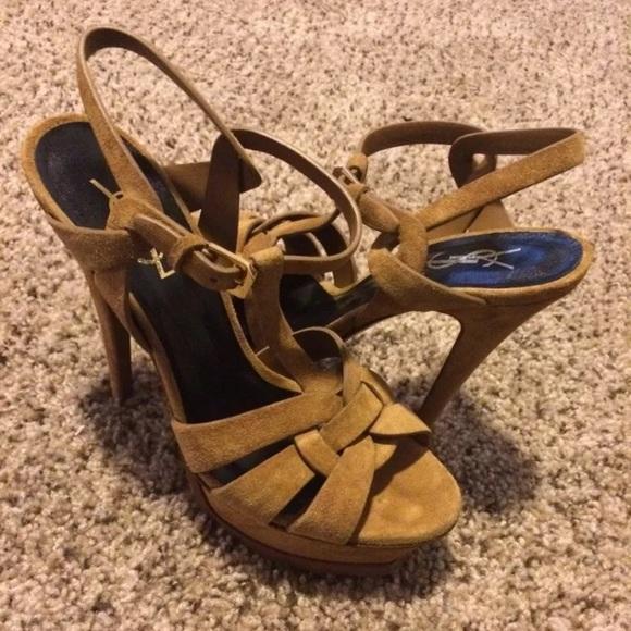 bcef537d7d ... yves saint laurent tribute suede sandals; ysl tan suede tribute sandals  sz 7.5 ...
