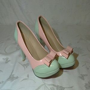 Shoes - Pink and Green Heels