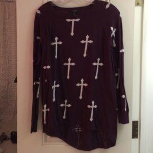 F21 Burgundy Cross Sweater