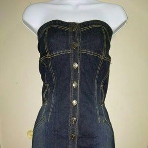 Dresses & Skirts - Halter style denim/ jean, knee length dress.