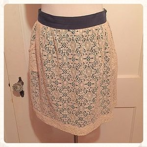 {Urban Outfitters} Ivory Lace Skirt, Navy Lining,4