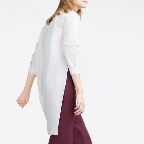 ebc49f05f2e99 ZARA TRF⚜✨TRAFALUC White Uneven Hem Shirt. M 567e000d713fde1095008148