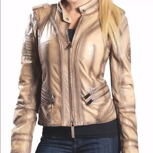 Don Vanquisher Tan Leather Motorcycle Jacket S