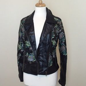 Jackets & Blazers - Printed Faux Leather Jacket
