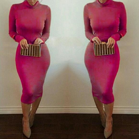1db147506d0 Kim K Long Sleeve Pink Mockneck Bodycon Midi Dress