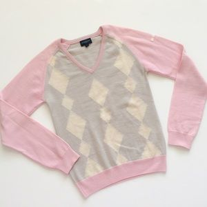 2X 💘HP💘BURBERRY BEIGE-AND-PINK ARGYLE SWEATER