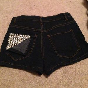 Pants - Studded Pocket Denim Shorts