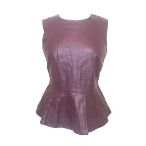 Tops - Burgundy faux leather Peplum Top