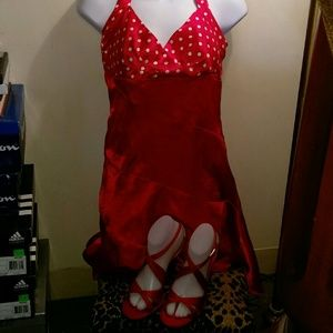 Other - Red satin dress with red satin shoes.