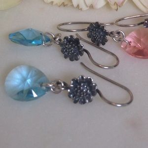 Swarovski crystal earrings in aquamarine
