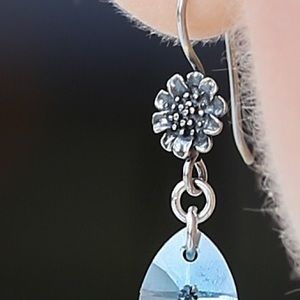 Jewelry - Swarovski crystal earrings in aquamarine