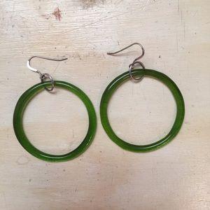 Recycled Glass Hoop Earrings w/silver hooks