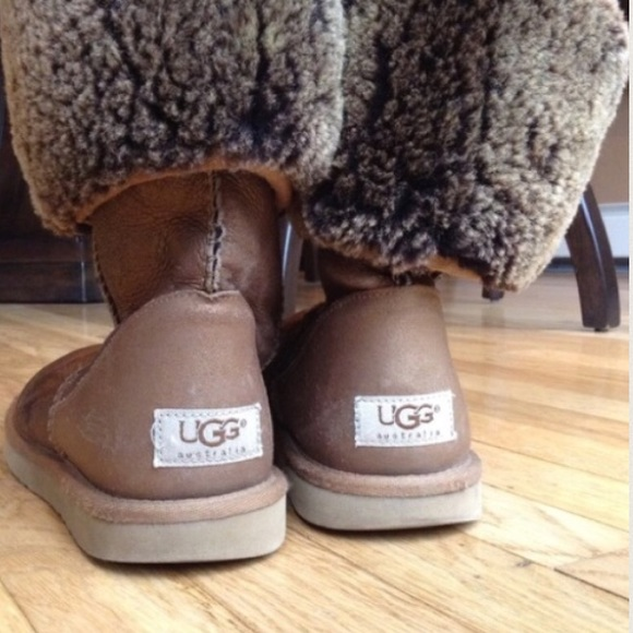 Authentic UGG classic tall metallic gold boots