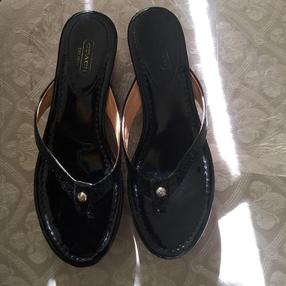 56 coach shoes coach black patent leather wedges