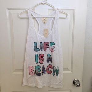 White Burner Racerback Tank - Life is a Beach