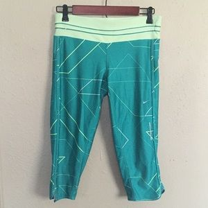 Nike Pants - Nike Running DriFit Green/Yellow Capri Pants