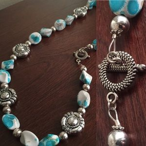 Handmade Necklace w/Turquoise/White Stones
