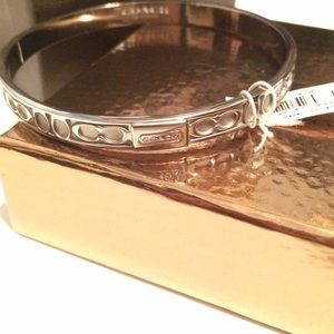 NWT COACH hinged pave metal bracelet