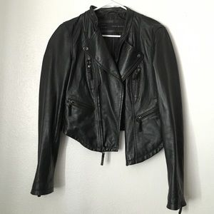 black genuine leather biker moto zip jacket