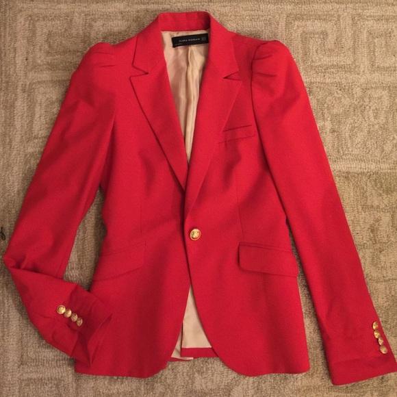 61% off Zara Jackets & Blazers - Zara red blazer with gold buttons ...