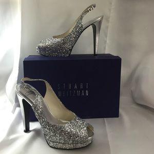 Stuart Weitzman Shoes - Stuart Weitzman Avalon Silver Glitter Heels HTF LE