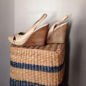 ASH nude wood wedges summer spring leather heel