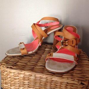 Banfi Zambrelli neon and tan leather wrap sandals