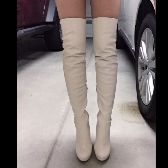 White Over The Knee Boots - Cr Boot