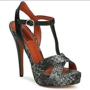 Missoni black and white leather sandals