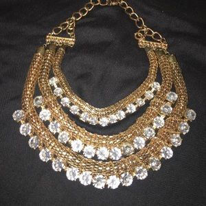 Gold necklace with rhinestone