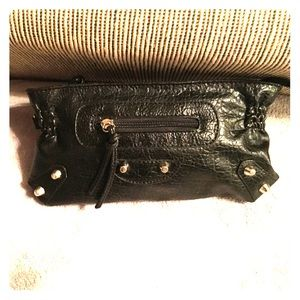Black studded clutch.