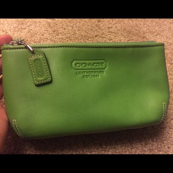 d434cc6bde Coach makeup bag clutch small purse green leather