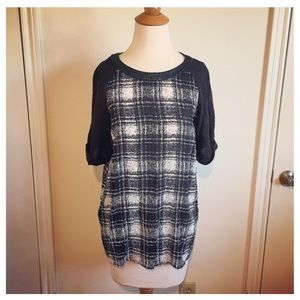 Tops - B&W Plaid & Faux Leather Top