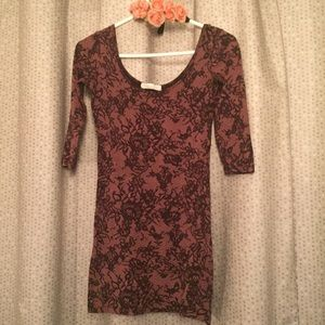 Forever 21 lace print bodycon dress sz small