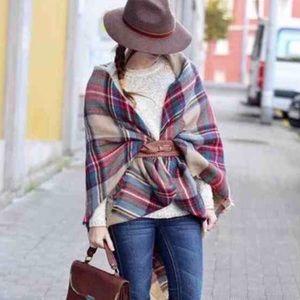 Zara plaid blanket scarf.