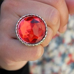 Boutique Jewelry - Blood Orange Adjustable Cocktail Ring