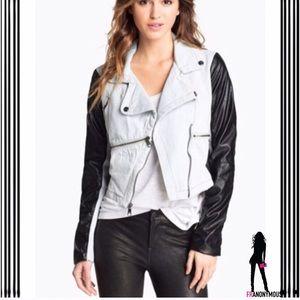 Steve Madden Jackets & Blazers - White Denim Black Leather Moto Jacket M