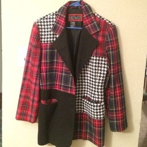 Houndstooth and plaid coat