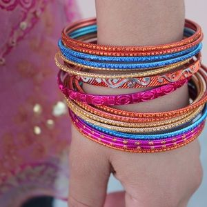 Forever 21 Jewelry - Forever 21 Orange Pink Blue Bracelet Set (18)