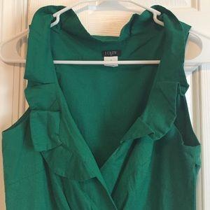 J. Crew Dresses & Skirts - J Crew Ruffle Collar Green Dress Sz 0 NWOT