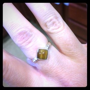 Tiger eye sterling silver ring size 5