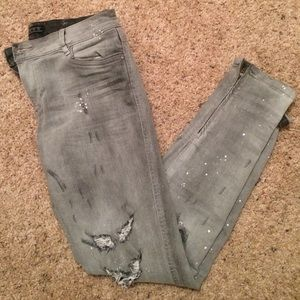 Zara ripped skinny splattered paint