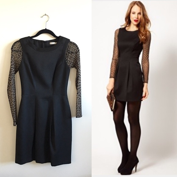 Karen Millen Dresses Long Sheer Sleeves Dress Black Poshmark