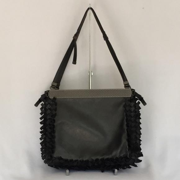 Bottega Venetta Fringe black leather handbag 2015 a2ad84ce04484