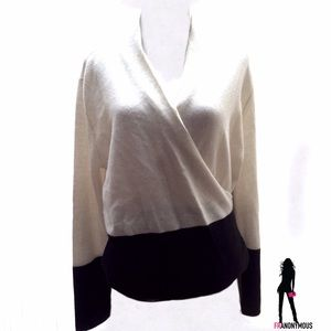 Saks Fifth Avenue Sweaters - Black and White Cashmere Surplice Sweater  XL