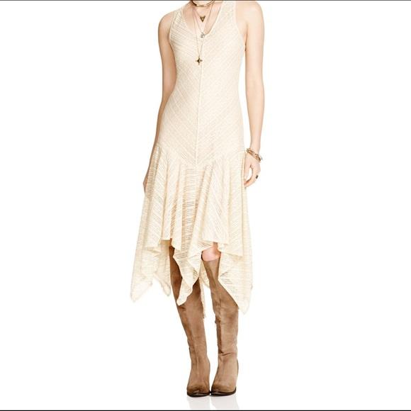 Cream Handkerchief Hem Dress