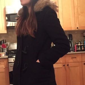 Marc New York wool coat with real fur trim