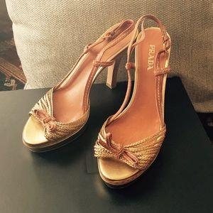 Prada wooden platform heels