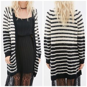 Forever 21 Sweaters - Black & White Stripe Fuzzy Cardigan