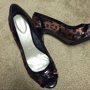 Giani Bernini Shoes - Leopard print peep-toe pumps. Worn once.